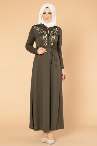 Modaebva - Nakışlı Fermuarlı Tesettür Elbise-1681 Hakiyeşil