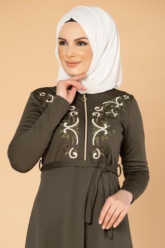 Modaebva - Nakışlı Fermuarlı Tesettür Elbise-1681 Hakiyeşil (1)