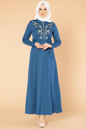 Modaebva - Nakışlı Fermuarlı Tesettür Elbise-1681 İndigo