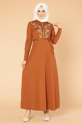 Modaebva - Nakışlı Fermuarlı Tesettür Elbise-1681 Kiremit