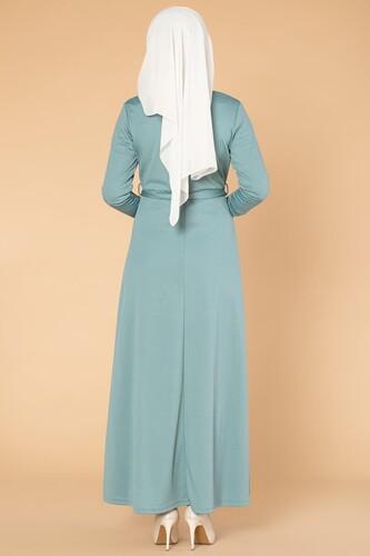 Nakışlı Fermuarlı Tesettür Elbise-1681 Mint yeşili - Thumbnail