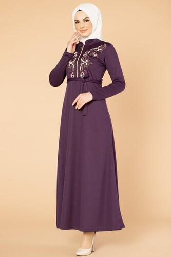 Modaebva - Nakışlı Fermuarlı Tesettür Elbise-1681 Mor