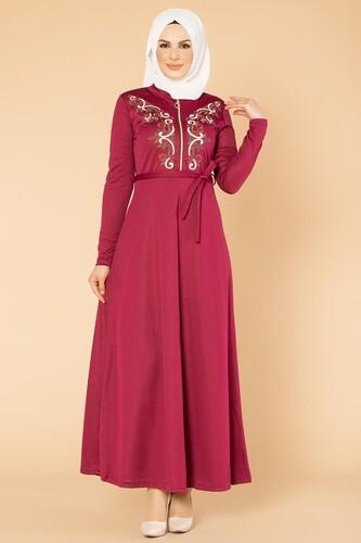 Modaebva - Nakışlı Fermuarlı Tesettür Elbise-1681 Şarabi