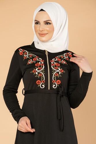 Modaebva - Nakışlı Fermuarlı Tesettür Elbise-1681 Siyah (1)