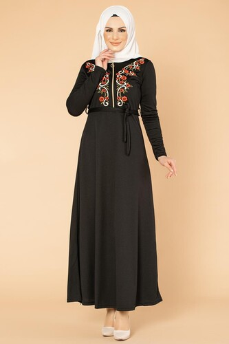 Modaebva - Nakışlı Fermuarlı Tesettür Elbise-1681 Siyah