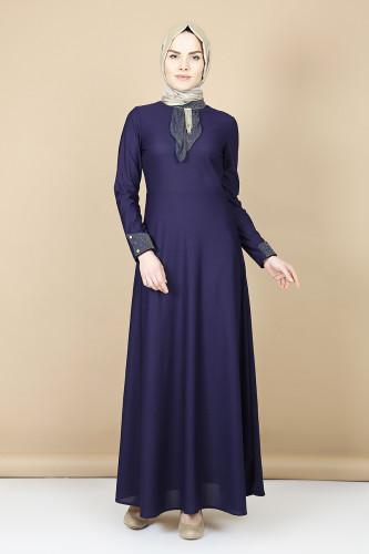 Modaebva - Nergiz savaroski kolye detaylı elbise -mor 0083