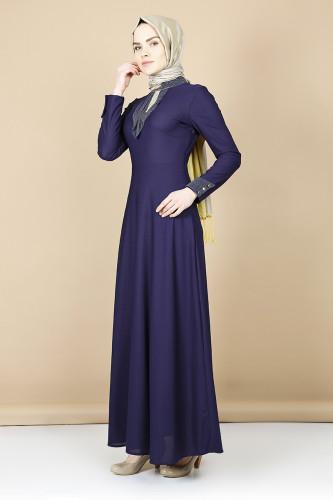 Modaebva - Nergiz savaroski kolye detaylı elbise -mor 0083 (1)
