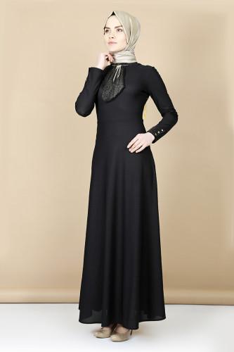 - Nergiz savaroski kolye detaylı elbise -Siyah 0083 (1)
