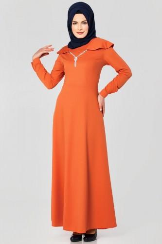 Modaebva - Omuz Fırfırlı Kolyeli Tesettür Elbise-2060 Turuncu