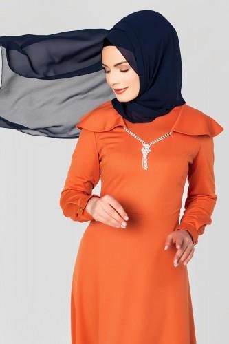 Modaebva - Omuz Fırfırlı Kolyeli Tesettür Elbise-2060 Turuncu (1)