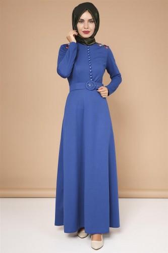 - Omuz Nakışlı Kemerli Elbise-0649Mavi
