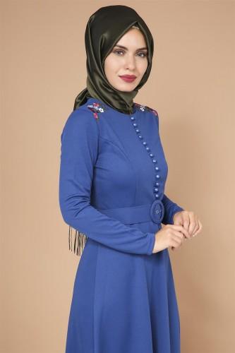 - Omuz Nakışlı Kemerli Elbise-0649Mavi (1)