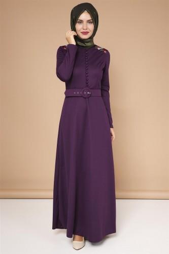 Omuz Nakışlı Kemerli Elbise-0649Mor - Thumbnail