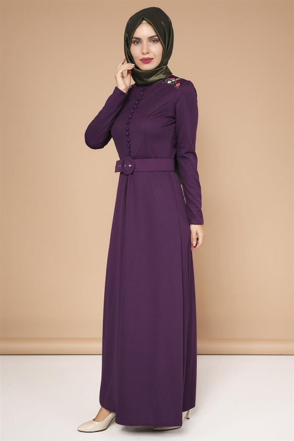 Omuz Nakışlı Kemerli Elbise-0649Mor