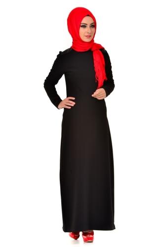 Modaebva - Omuz Ve Sırt Deri Detaylı Elbise Siyah-4064