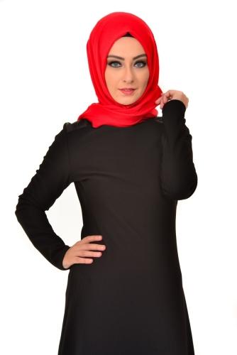 Modaebva - Omuz Ve Sırt Deri Detaylı Elbise Siyah-4064 (1)