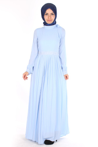 Modaebva - Omuzda Baskı Düğme Detaylı Elbise-1755Mavi