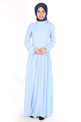 Modaebva - Omuzda Baskı Düğme Detaylı Elbise-1755Mavi (1)