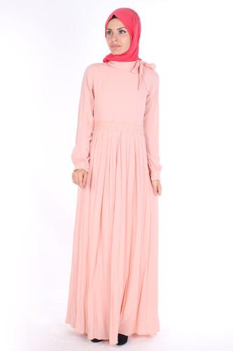 Modaebva - Omuzda Baskı Düğme Detaylı Elbise-1755Pudra