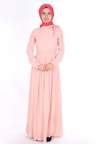 Modaebva - Omuzda Baskı Düğme Detaylı Elbise-1755Pudra (1)