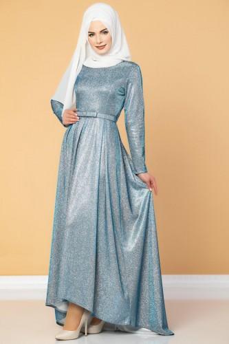 - Ön Kısa Arka Uzun Simli Abiye-1458 Mavi