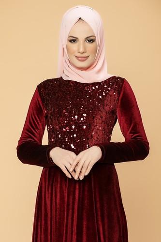 Modaebva - Ön Pul Detay Kadife Elbise-2011 Bordo (1)