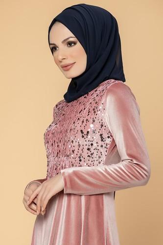 Modaebva - Ön Pul Detay Kadife Elbise-2011 Gülkurusu (1)