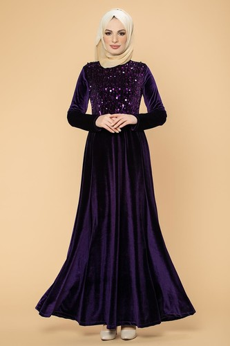 Modaebva - Ön Pul Detay Kadife Elbise-2011 Mor