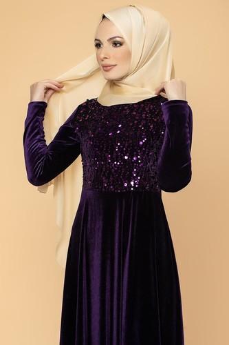 Modaebva - Ön Pul Detay Kadife Elbise-2011 Mor (1)