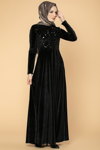 Modaebva - Ön Pul Detay Kadife Elbise-2011 Siyah