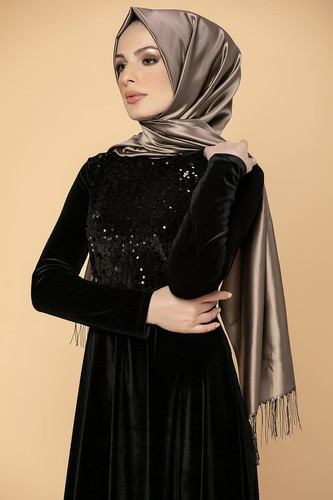 Modaebva - Ön Pul Detay Kadife Elbise-2011 Siyah (1)