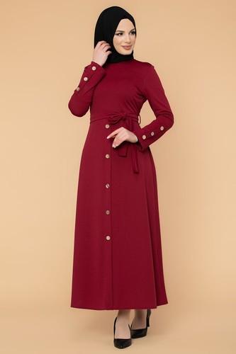 Modaebva - Ön Ve Kol Düğme Detaylı Tesettür Elbise-3571 Bordo