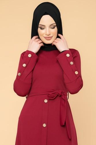 Modaebva - Ön Ve Kol Düğme Detaylı Tesettür Elbise-3571 Bordo (1)