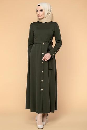 Modaebva - Ön Ve Kol Düğme Detaylı Tesettür Elbise-3571 Hakiyeşil