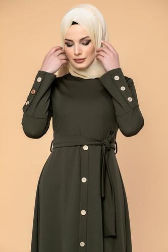 Modaebva - Ön Ve Kol Düğme Detaylı Tesettür Elbise-3571 Hakiyeşil (1)