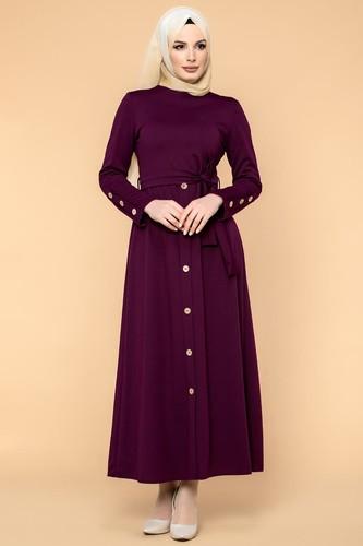 Modaebva - Ön Ve Kol Düğme Detaylı Tesettür Elbise-3571 Mürdüm