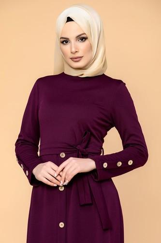 Modaebva - Ön Ve Kol Düğme Detaylı Tesettür Elbise-3571 Mürdüm (1)