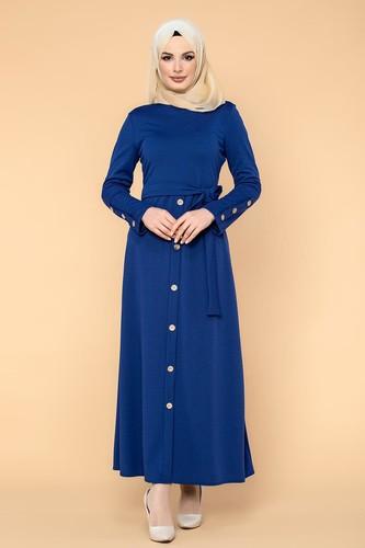 Modaebva - Ön Ve Kol Düğme Detaylı Tesettür Elbise-3571 Saks mavisi