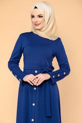 Modaebva - Ön Ve Kol Düğme Detaylı Tesettür Elbise-3571 Saks mavisi (1)
