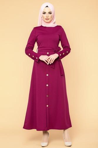 Modaebva - Ön Ve Kol Düğme Detaylı Tesettür Elbise-3571 Şarabi (1)