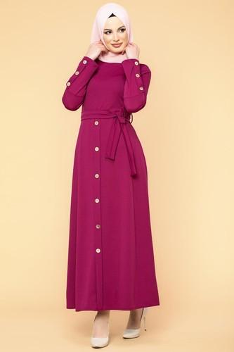 Modaebva - Ön Ve Kol Düğme Detaylı Tesettür Elbise-3571 Şarabi