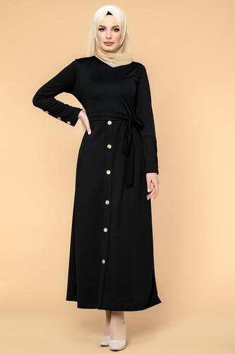 Modaebva - Ön Ve Kol Düğme Detaylı Tesettür Elbise-3571 Siyah