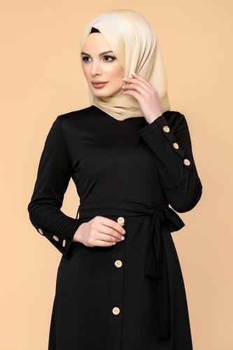 Modaebva - Ön Ve Kol Düğme Detaylı Tesettür Elbise-3571 Siyah (1)