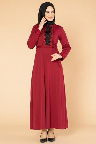 Modaebva - Ön Ve Kol İnci Detay Tesettür Elbise-1723 Bordo