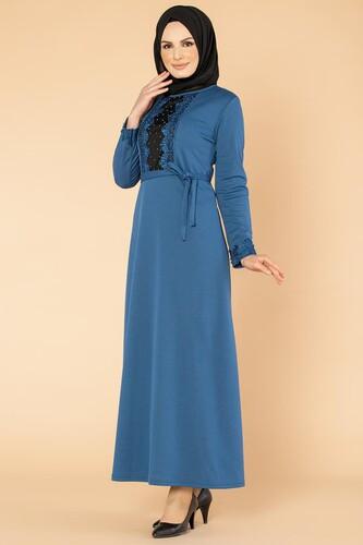 Modaebva - Ön Ve Kol İnci Detay Tesettür Elbise-1723 İndigo