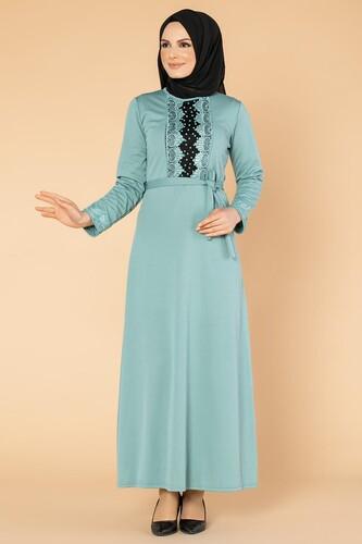 Modaebva - Ön Ve Kol İnci Detay Tesettür Elbise-1723 Mintyeşili