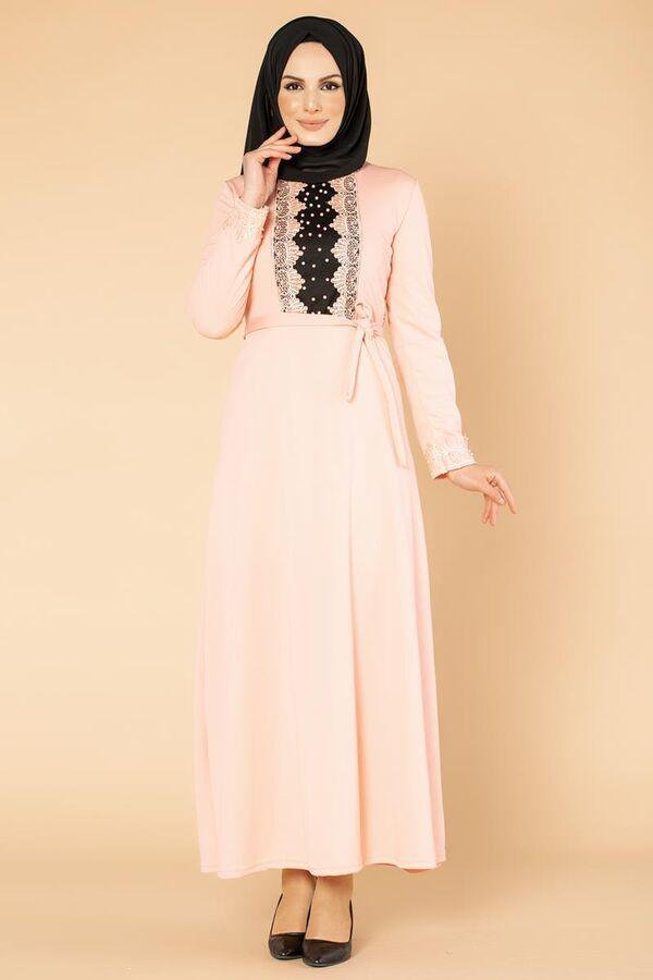 Ön Ve Kol İnci Detay Tesettür Elbise-1723 Pudra