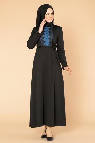 Modaebva - Ön Ve Kol İnci Detay Tesettür Elbise-1723 Siyah