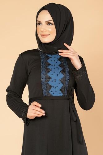 Modaebva - Ön Ve Kol İnci Detay Tesettür Elbise-1723 Siyah (1)