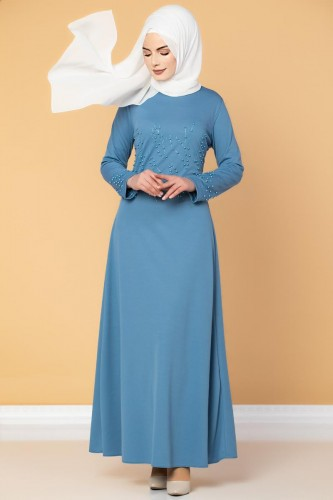 - Ön ve Kol İnci Detaylı Elbise-2063 Bebemavisi